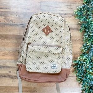 Herschel | Polka Dot Canvas and Leather Backpack